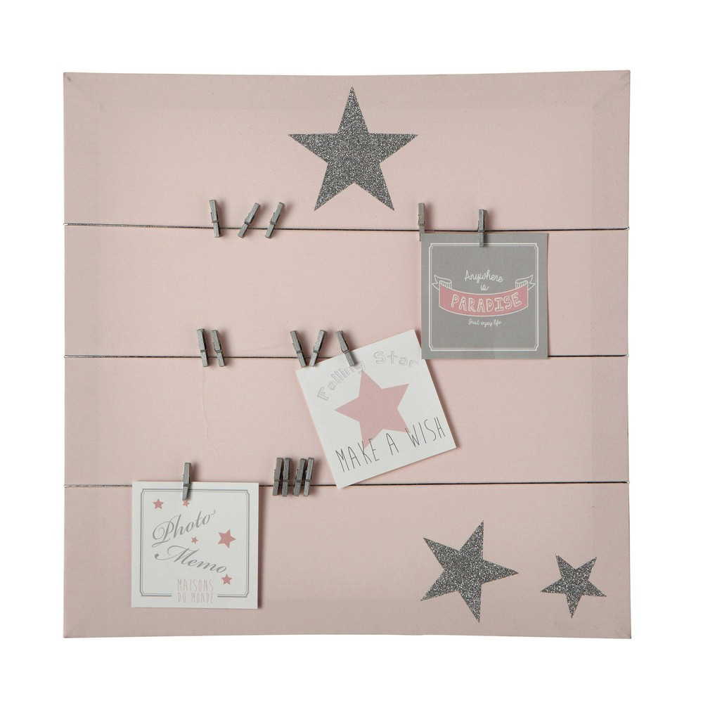 Pastel canvas memo board in pink 45 x 45cm maisons du monde for Decoration maison rose