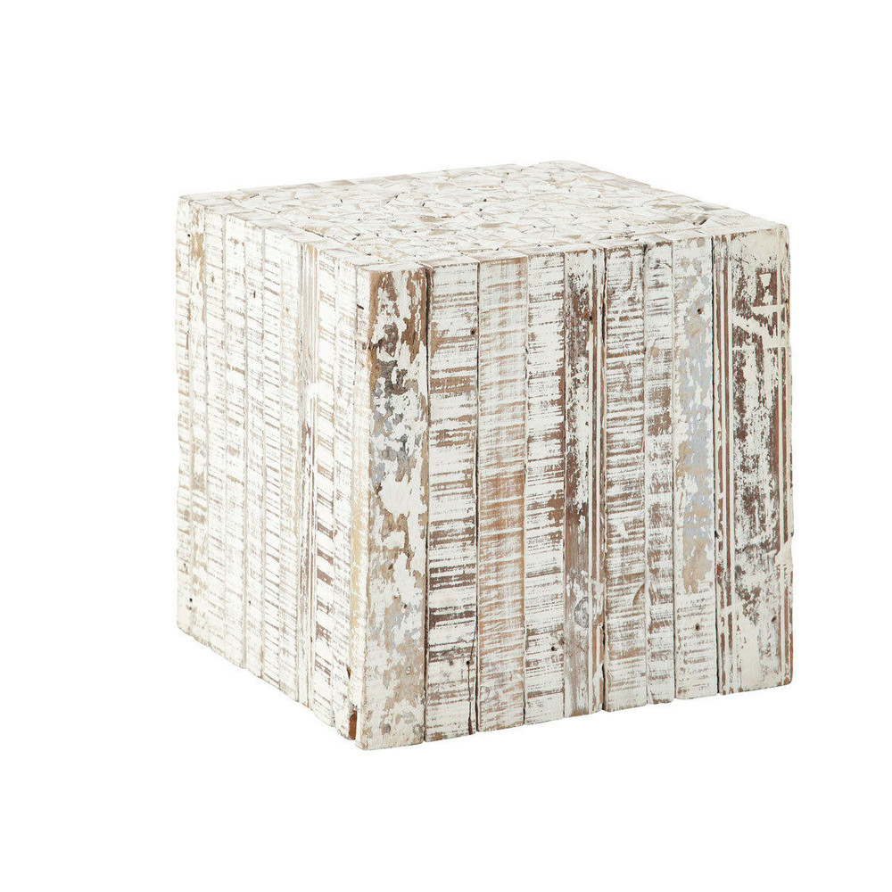 Patras whitewashed wood side table w 35cm maisons du monde for Table maison du monde
