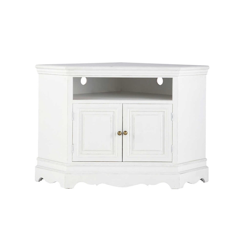 paulownia wood corner tv unit in white w 105cm jos phine. Black Bedroom Furniture Sets. Home Design Ideas