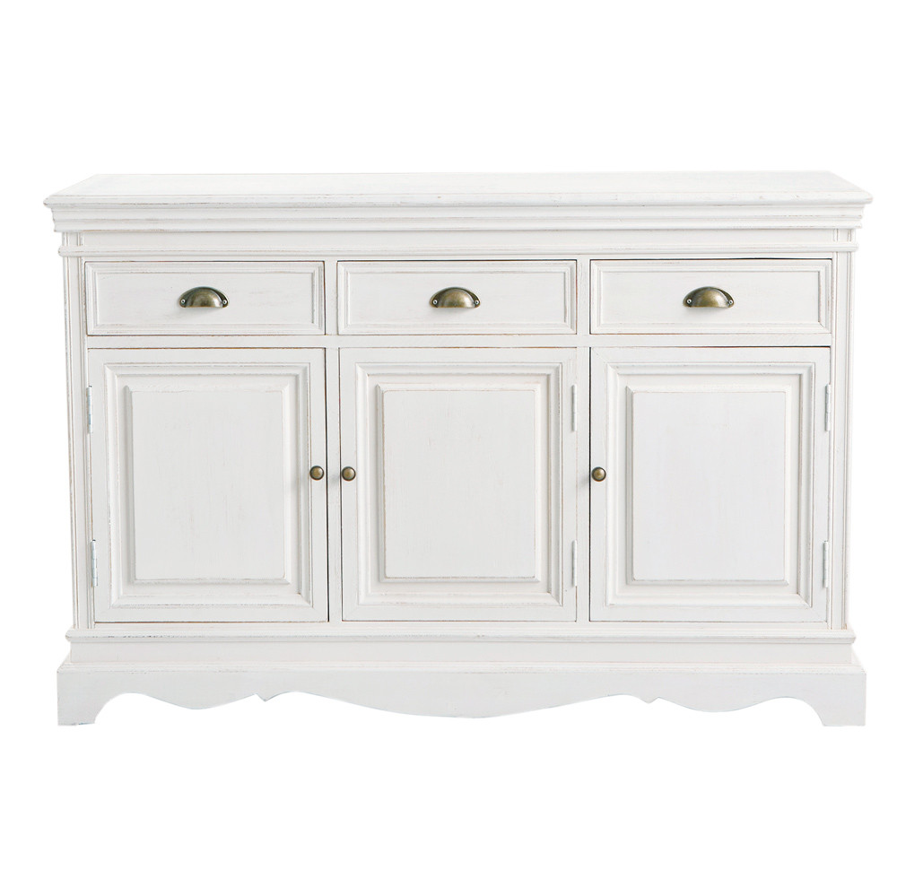 paulownia wood sideboard in white w 131cm jos phine. Black Bedroom Furniture Sets. Home Design Ideas