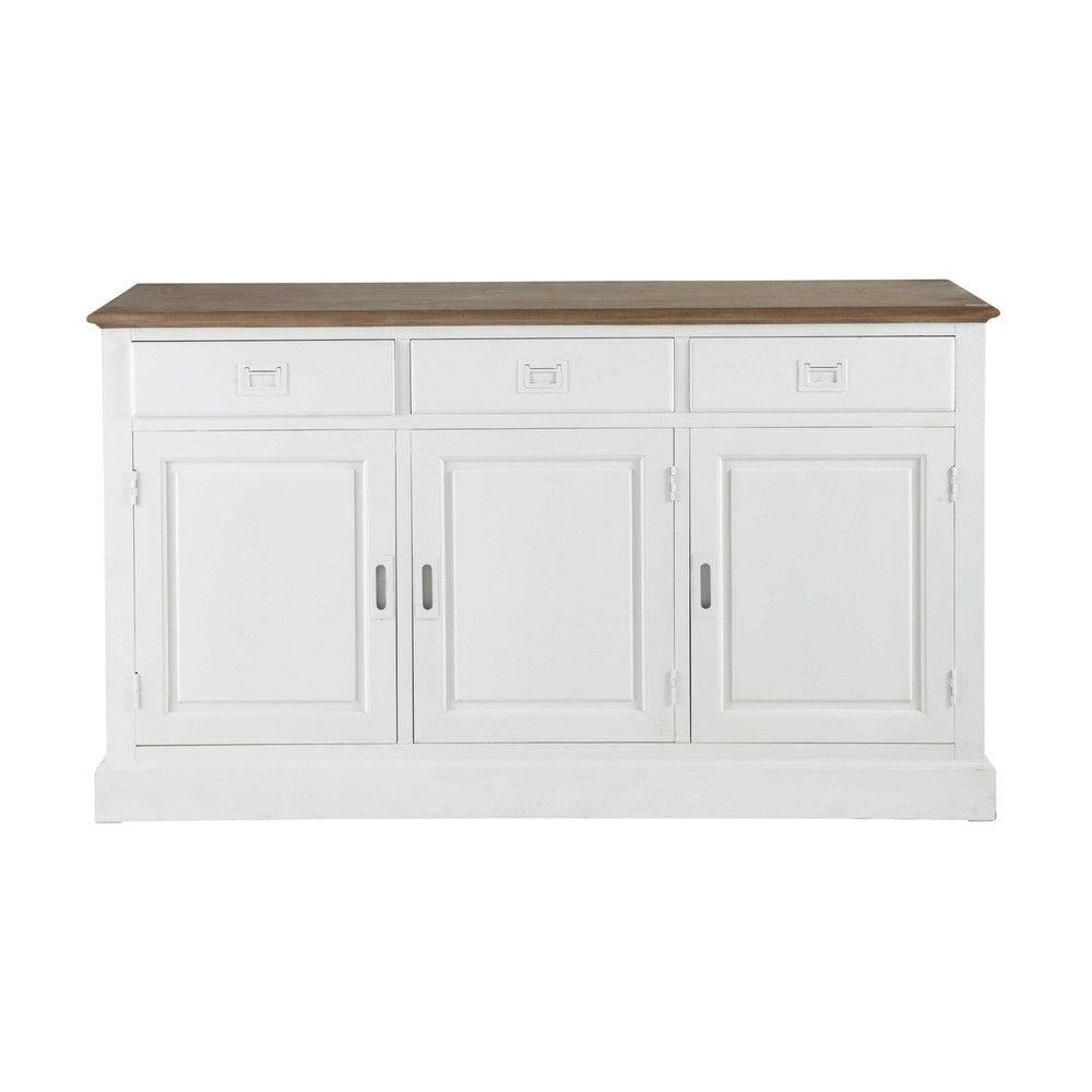 paulownia wood sideboard in white w 150cm leandre maisons du monde. Black Bedroom Furniture Sets. Home Design Ideas