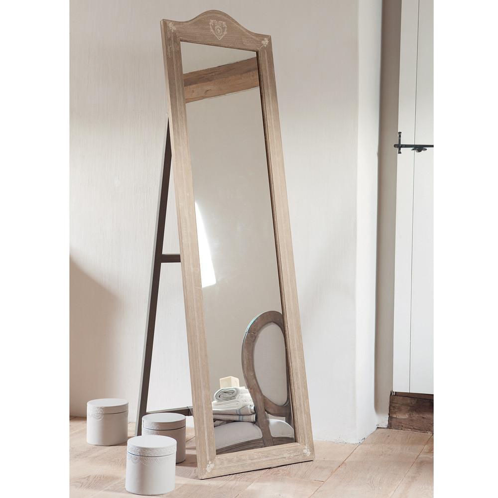Paulowniahouten staande camille spiegel h 170 cm maisons for Staande spiegel hout