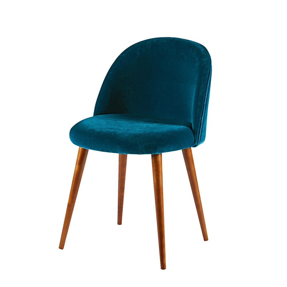 Peacock Blue Velvet And Solid Birch Chair Mauricette Maisons Du Monde