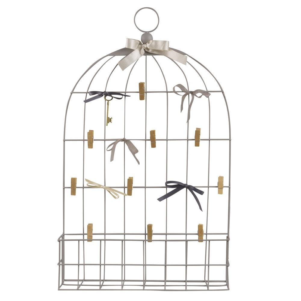 p le m le cage en m tal gris 42x68 maisons du monde. Black Bedroom Furniture Sets. Home Design Ideas