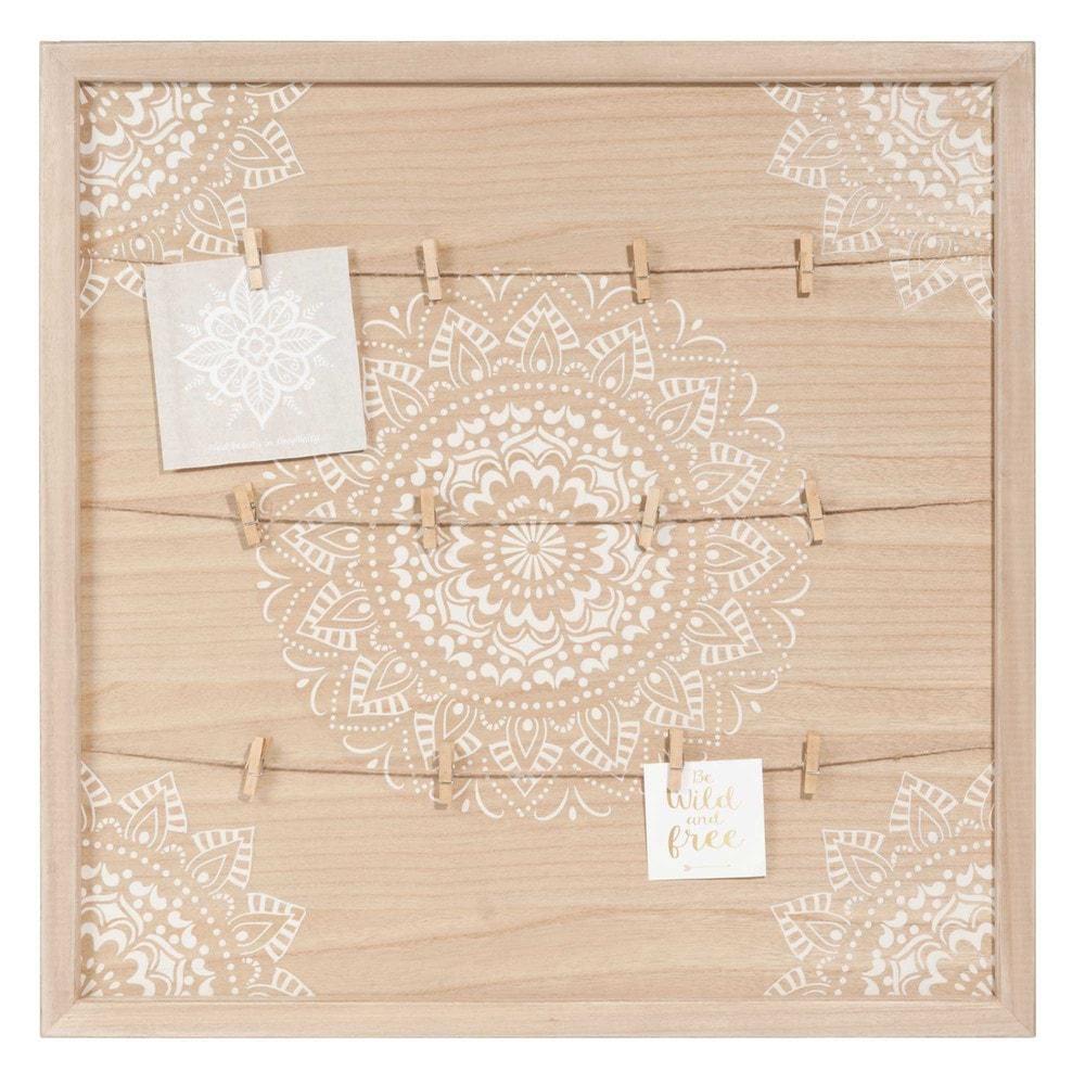 p le m le en paulownia motifs blancs mandala maisons du. Black Bedroom Furniture Sets. Home Design Ideas