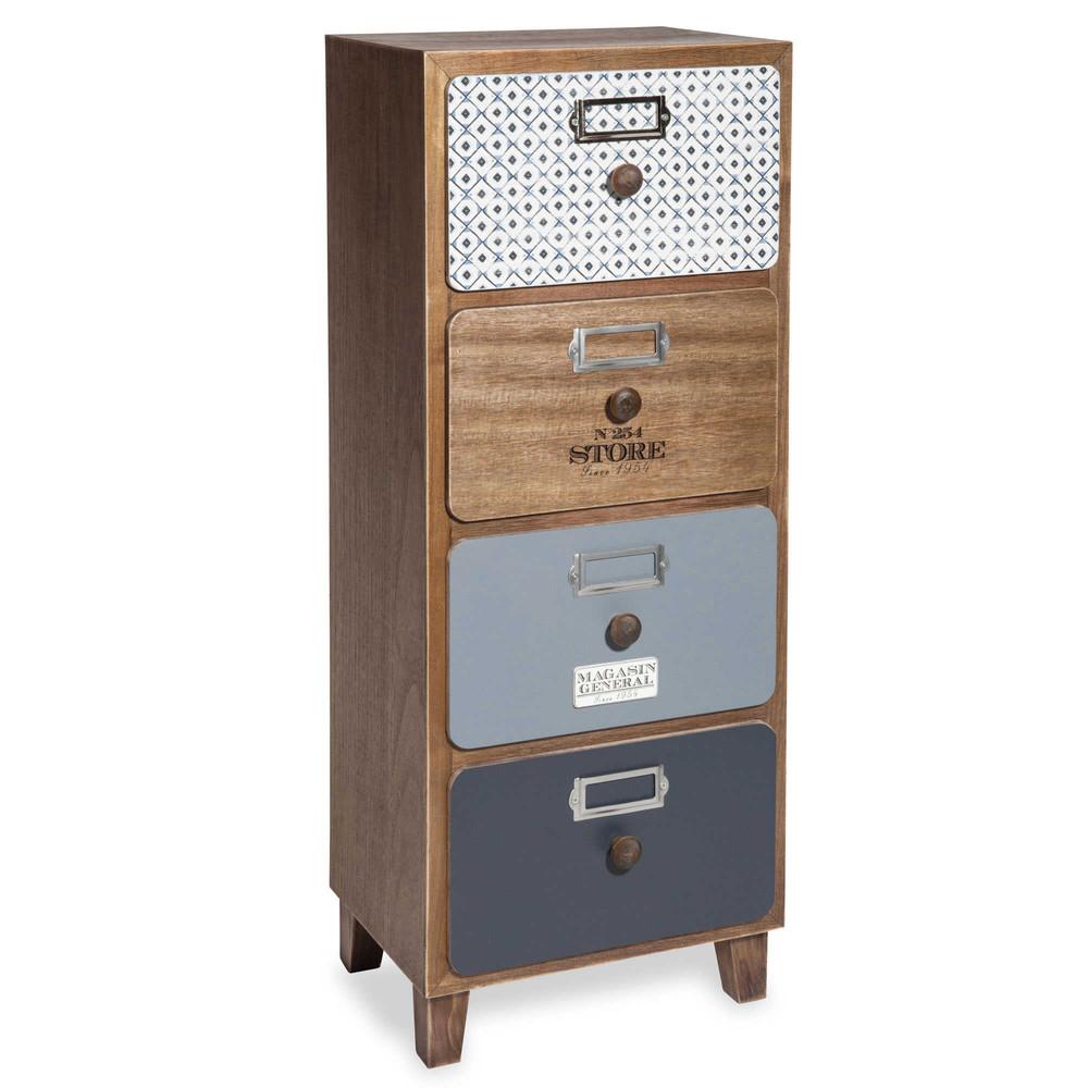 Peque o mueble de almacenaje con 4 cajones con impresi n for Mueble cajones pequenos