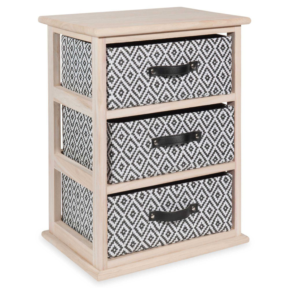 petit meuble 3 tiroirs en bois h 50 cm ikat maisons du monde. Black Bedroom Furniture Sets. Home Design Ideas