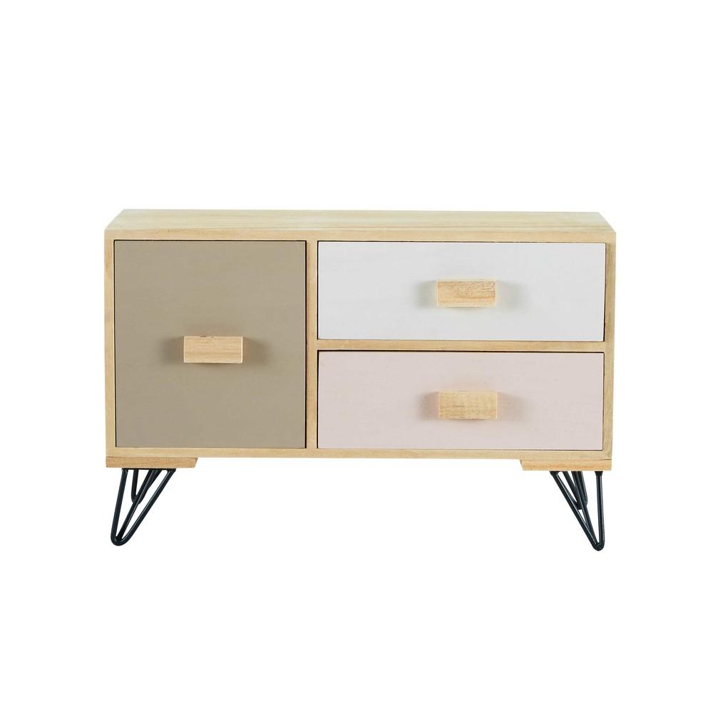 petit meuble 3 tiroirs tricolore blush maisons du monde. Black Bedroom Furniture Sets. Home Design Ideas