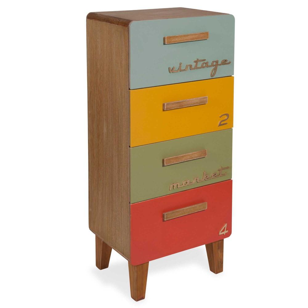 Petit meuble 4 tiroirs multicolores market maisons du monde for Meuble 4 tiroirs