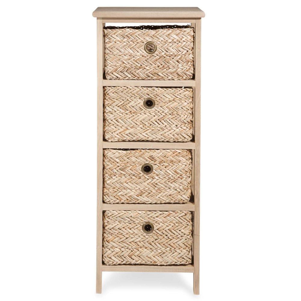 petit meuble de rangement 4 tiroirs en vannerie kampala maisons du monde. Black Bedroom Furniture Sets. Home Design Ideas