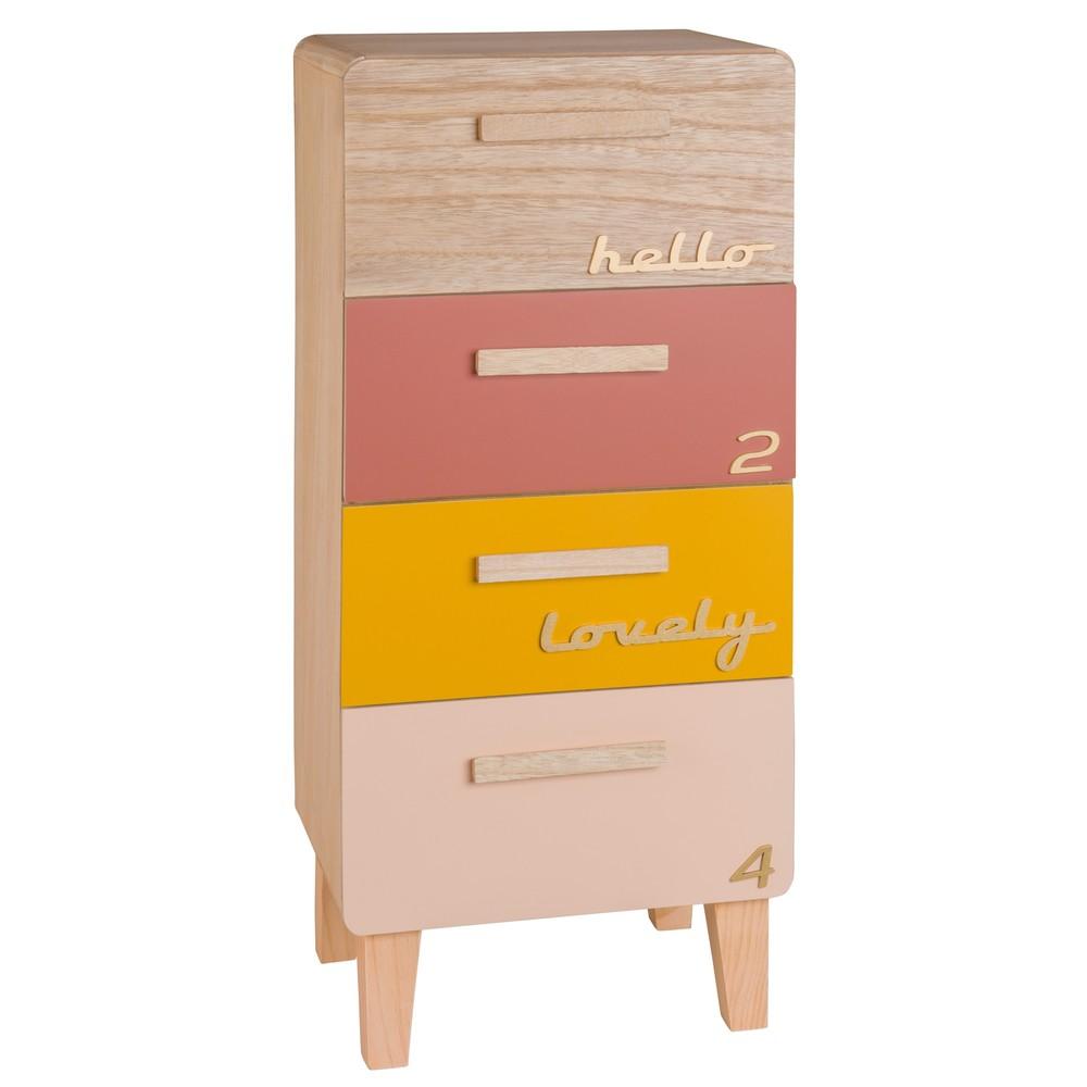Petit meuble de rangement 4 tiroirs multicolore maisons for Petit meuble rangement avec tiroirs