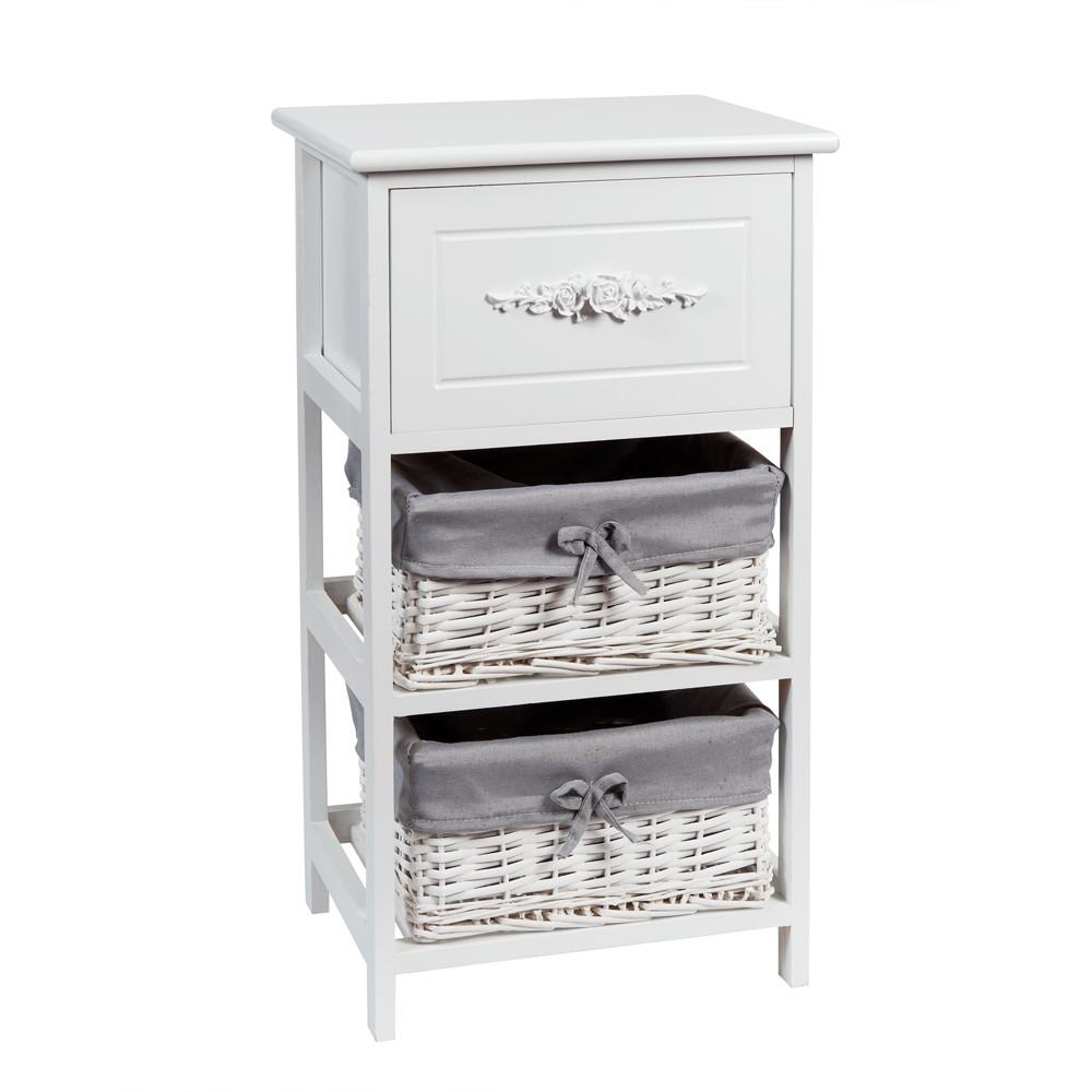 Petit meuble de rangement blanc rosa maisons du monde for Meuble blanc rangement