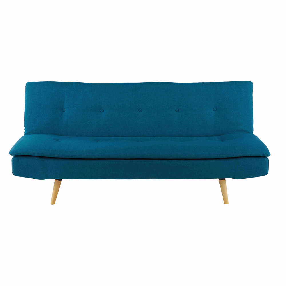 petrol blue 2 3 seater fabric sofa bed dakota maisons du monde. Black Bedroom Furniture Sets. Home Design Ideas
