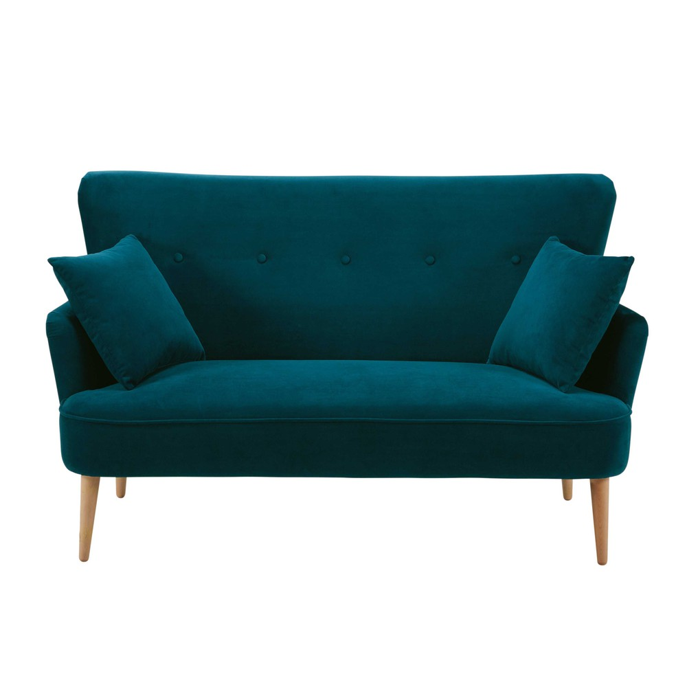 petrol blue 2 seater velvet sofa leon maisons du monde. Black Bedroom Furniture Sets. Home Design Ideas