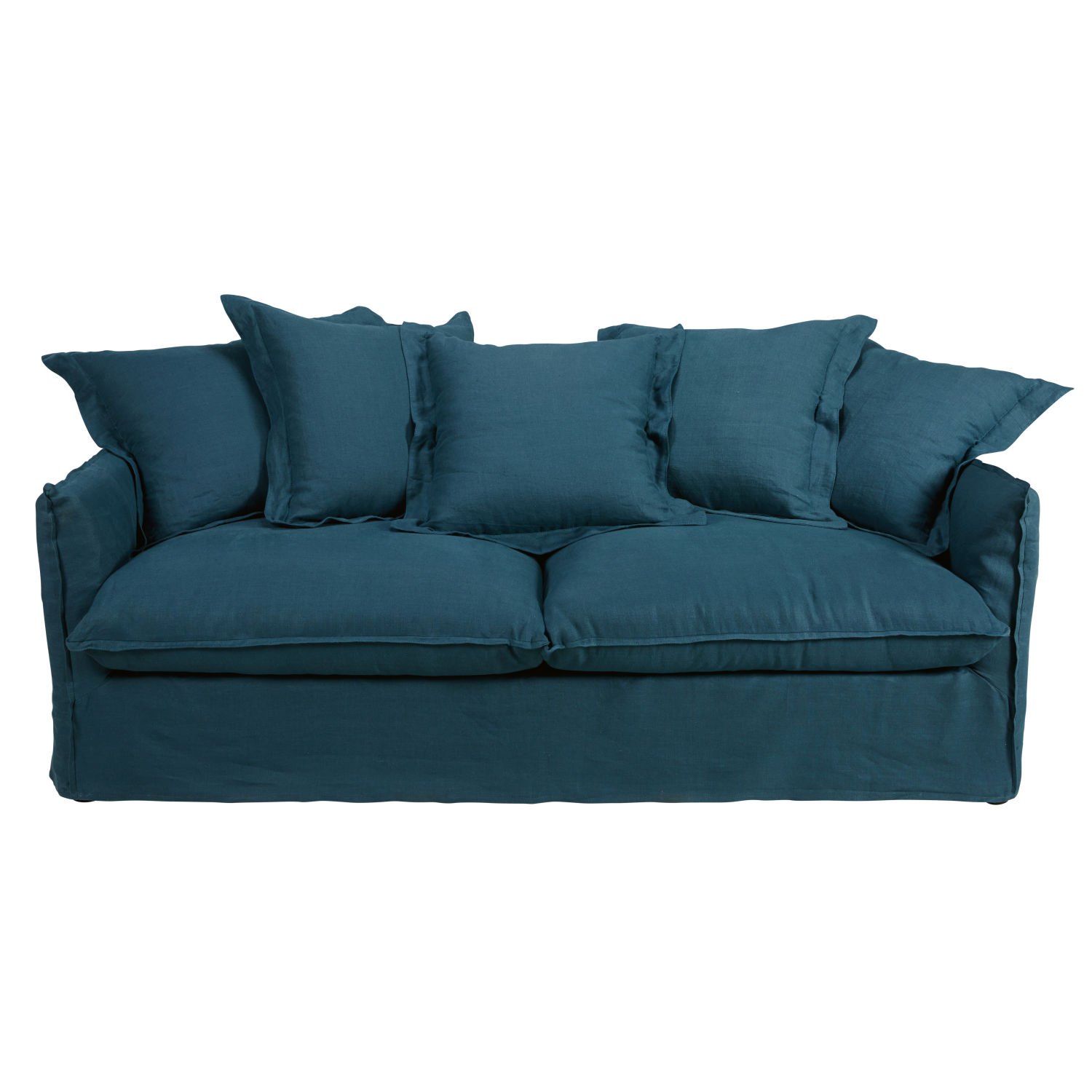 Petrol Blue 3 4 Seater Washed Linen Sofa Bed Barcelone Maisons Du