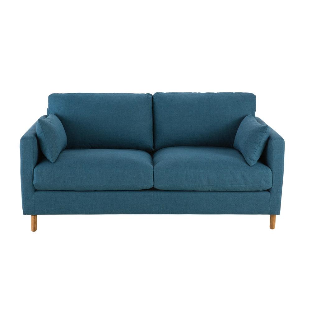 petrol blue 3 seater sofa bed julian maisons du monde. Black Bedroom Furniture Sets. Home Design Ideas
