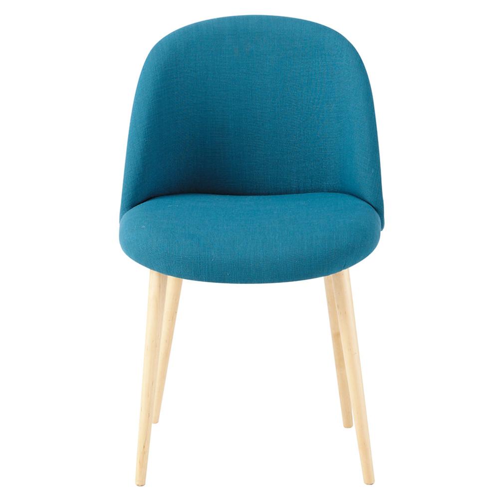 Petrol blue fabric vintage chair mauricette maisons du monde for Chaise maison du monde