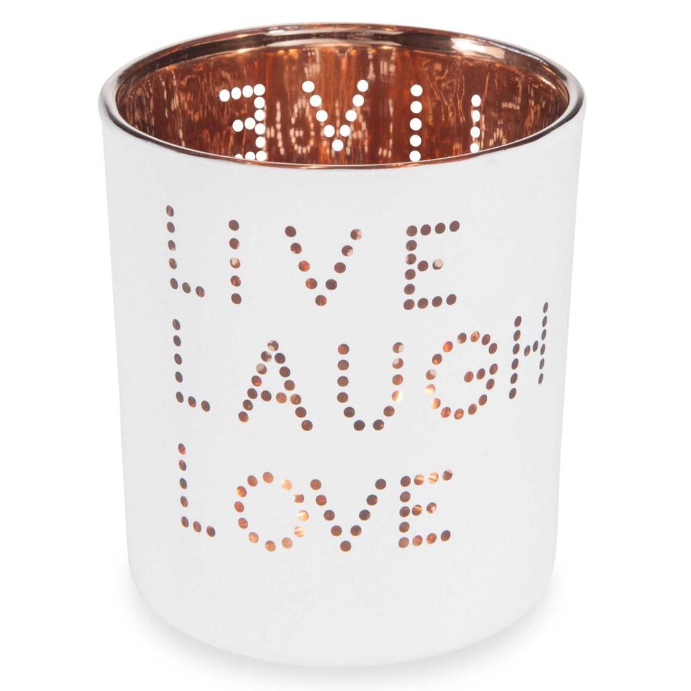 Photophore En Verre Blanc H 8 Cm Live Laugth Maisons Du