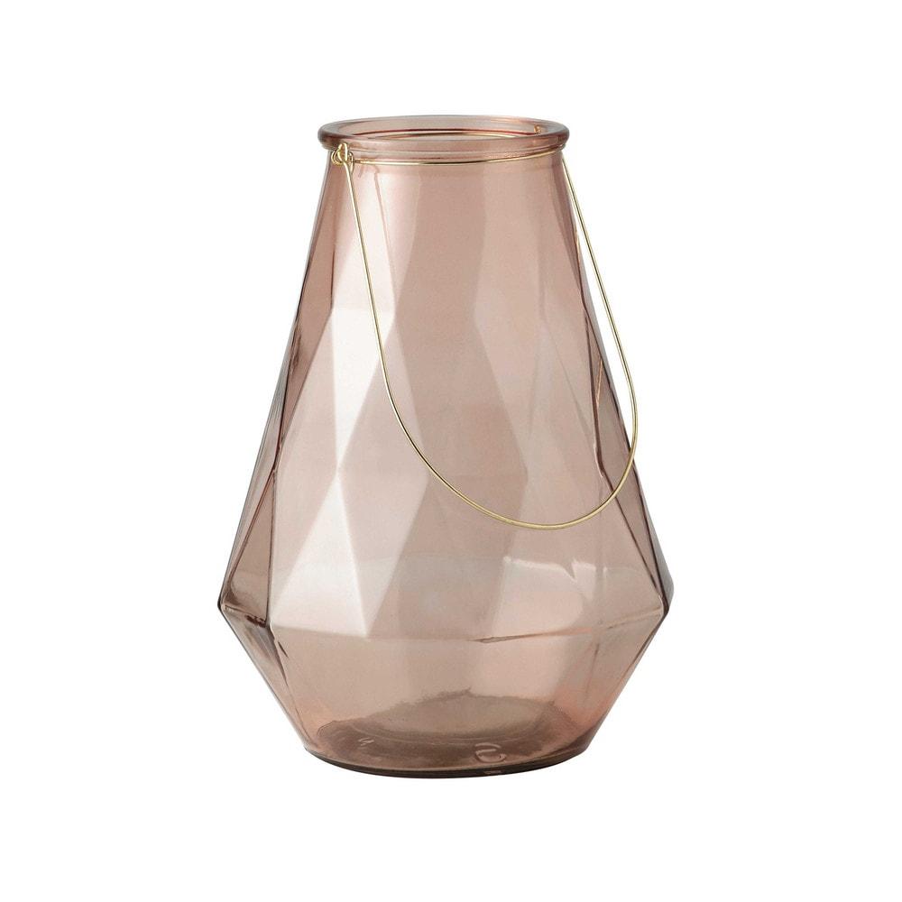 Photophore en verre et m tal effet bronze h 38 cm antigone maisons du monde - Cloche en verre maison du monde ...