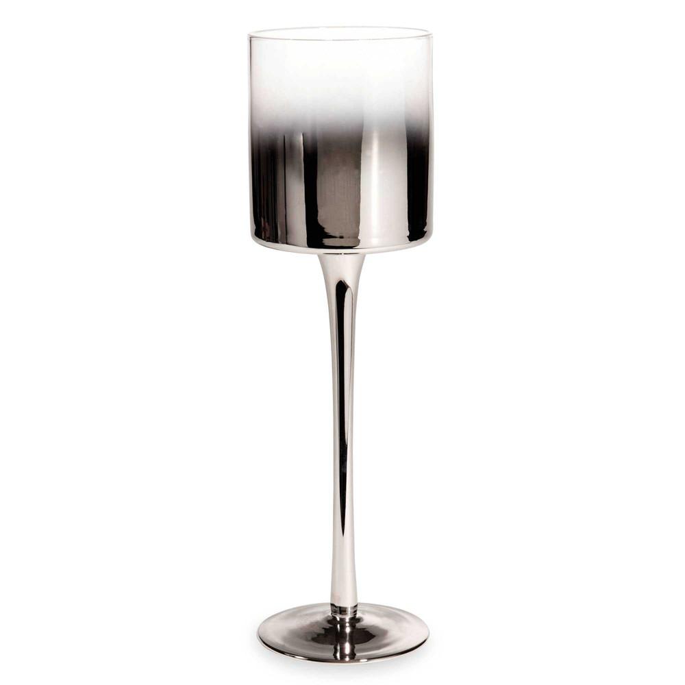 photophore sur pied en verre argent h 30 cm silver maisons du monde. Black Bedroom Furniture Sets. Home Design Ideas