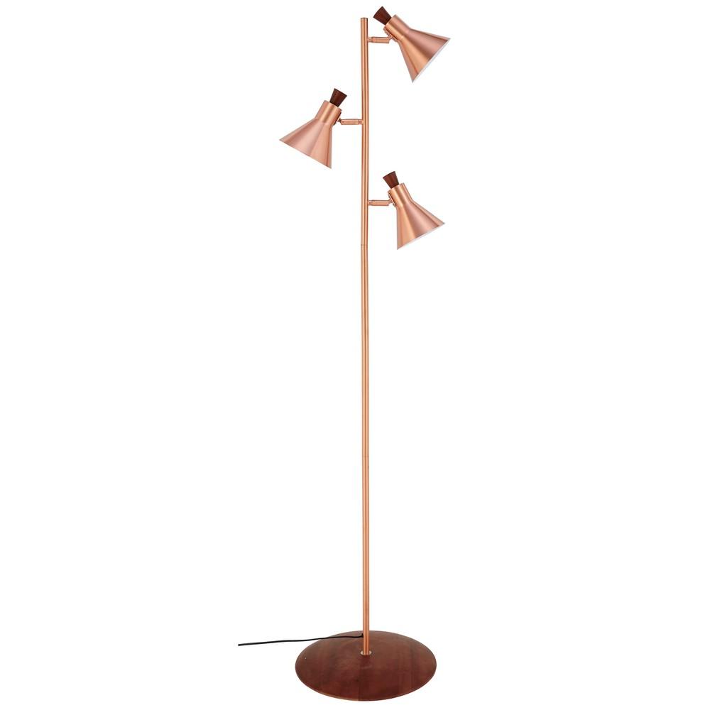 Piantana a 3 lampade in metallo ramato cm jacobs for Lampada piantana maison du monde