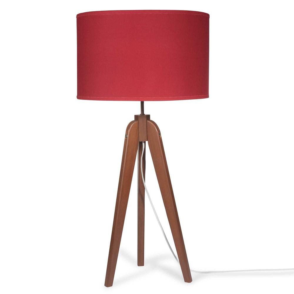piantana su treppiede in legno con abat jour rossa h 83 cm luce maisons du monde. Black Bedroom Furniture Sets. Home Design Ideas