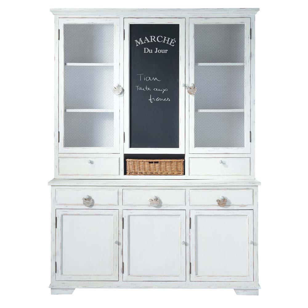 piattaia bianca in legno l 162 cm basse cour maisons du. Black Bedroom Furniture Sets. Home Design Ideas