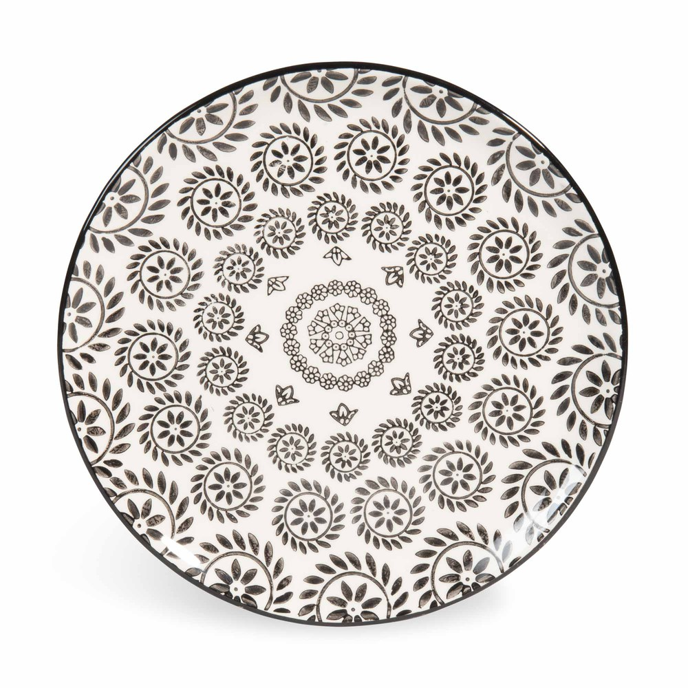 Piatto da dessert bianco nero in maiolica d 21 cm chiang - Platos maison du monde ...