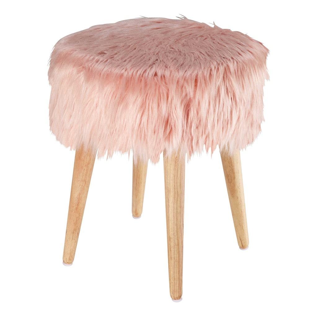 Pin Up Pink Faux Fur Stool Maisons Du Monde