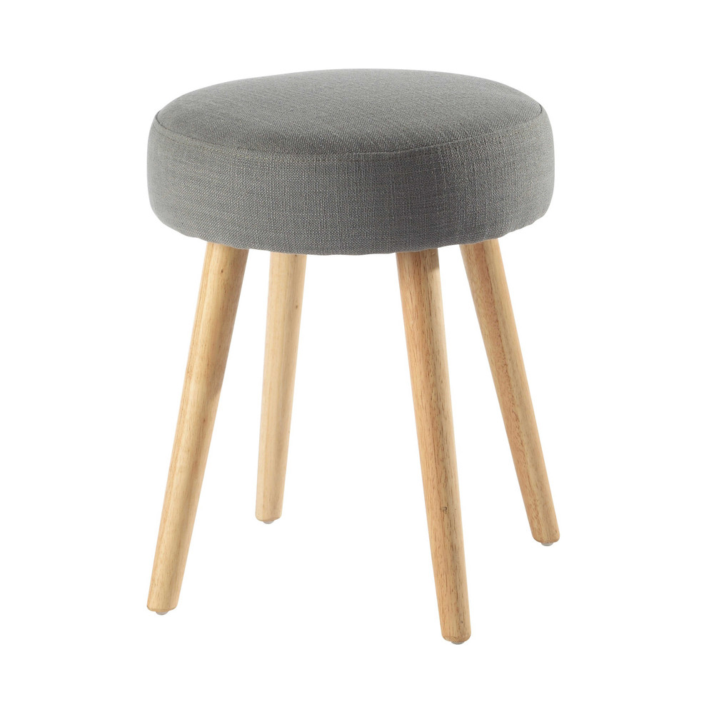 Pin 39 up vintage fabric and wood stool in grey maisons du monde - Tabouret bois vintage ...