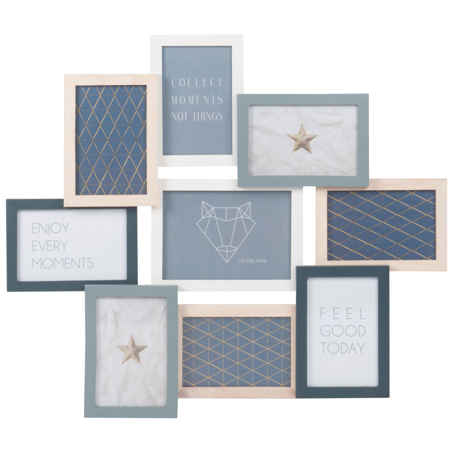 Pine 9-Opening Photo Frame 58x50 Relief | Maisons du Monde