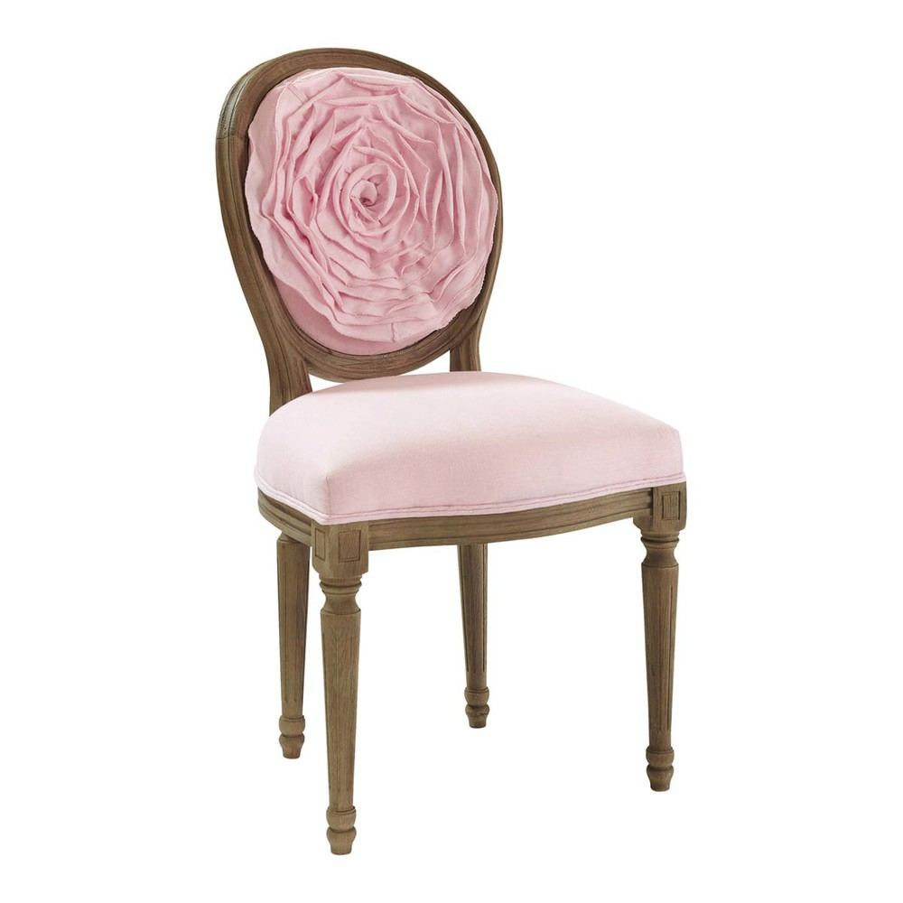 Pink linen chair louis louis maisons du monde - Maison du monde rocking chair ...