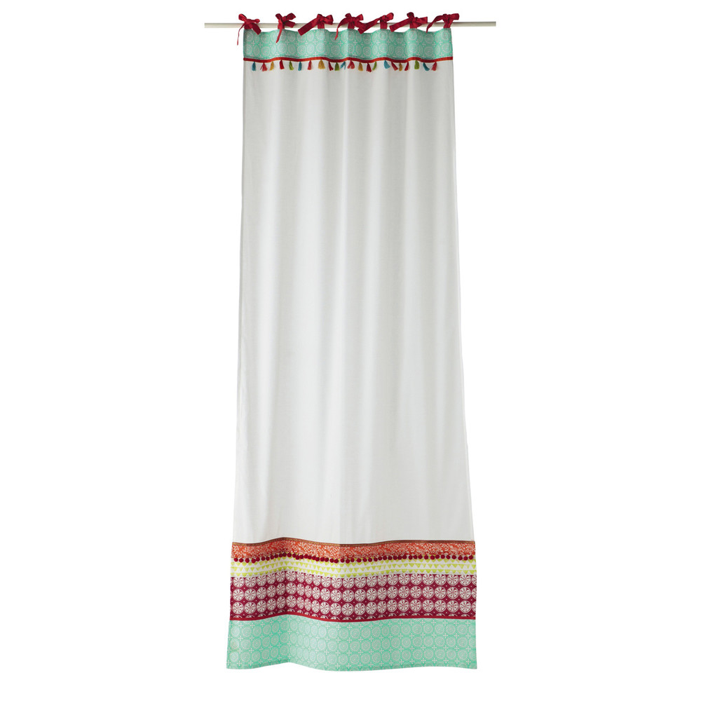 PINKPLANET Cotton Tie Top Curtain In White 110 X 250cm