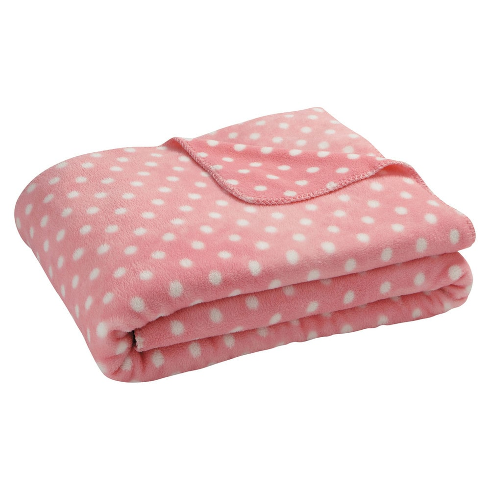 Plaid pois rose 130 x 170 cm maisons du monde for Plaid maison du monde