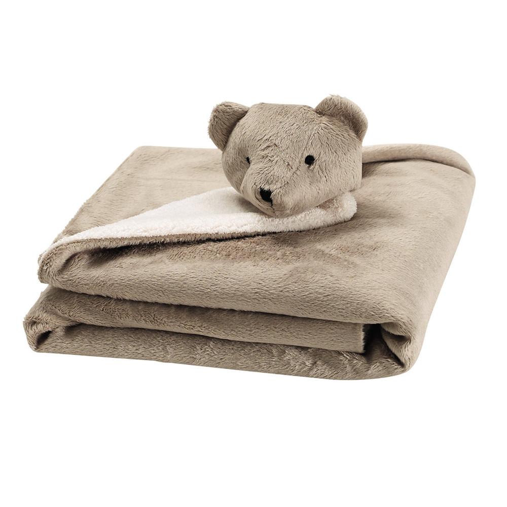 plaid b b en tissu beige 65 x 65 cm ourson maisons du monde. Black Bedroom Furniture Sets. Home Design Ideas