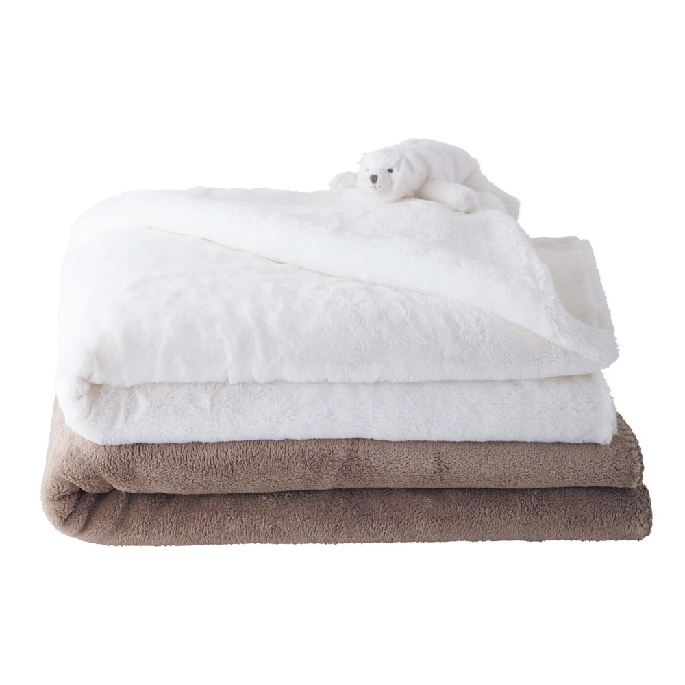plaid chauffeuse en tissu beige blanc l 90 et l 100 cm ourson maisons du monde. Black Bedroom Furniture Sets. Home Design Ideas