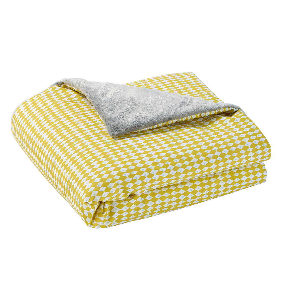Plaid en coton jaune gris 75 x 100 cm gaston maisons du for Plaid maison du monde