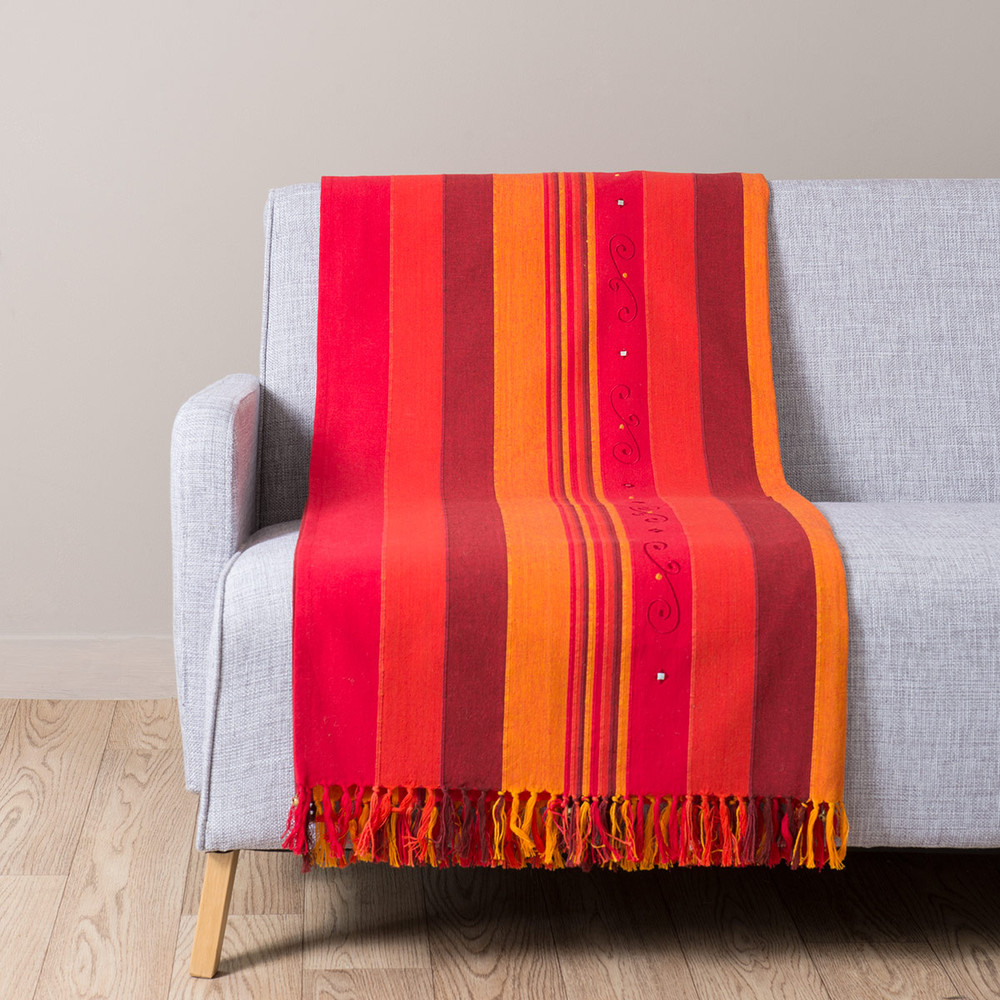 plaid en coton rouge et orange 160 x 210 atlas safran maisons du monde. Black Bedroom Furniture Sets. Home Design Ideas