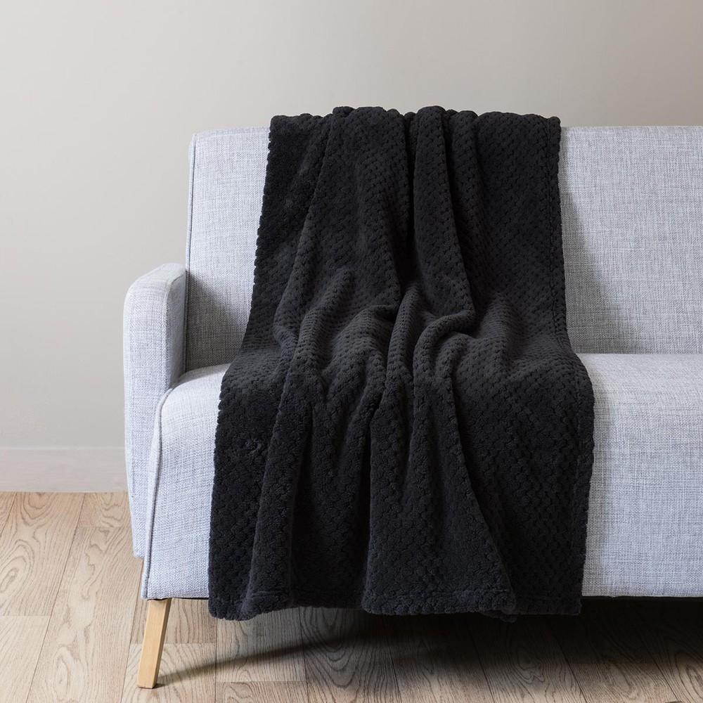 plaid en tissu noir 150 x 230 cm boston maisons du monde. Black Bedroom Furniture Sets. Home Design Ideas