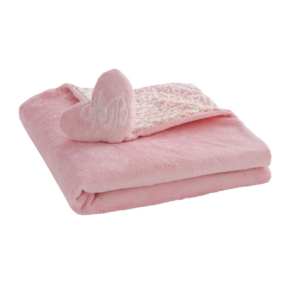 plaid enfant c ur en coton rose motif fleuri 65 x 65 cm. Black Bedroom Furniture Sets. Home Design Ideas