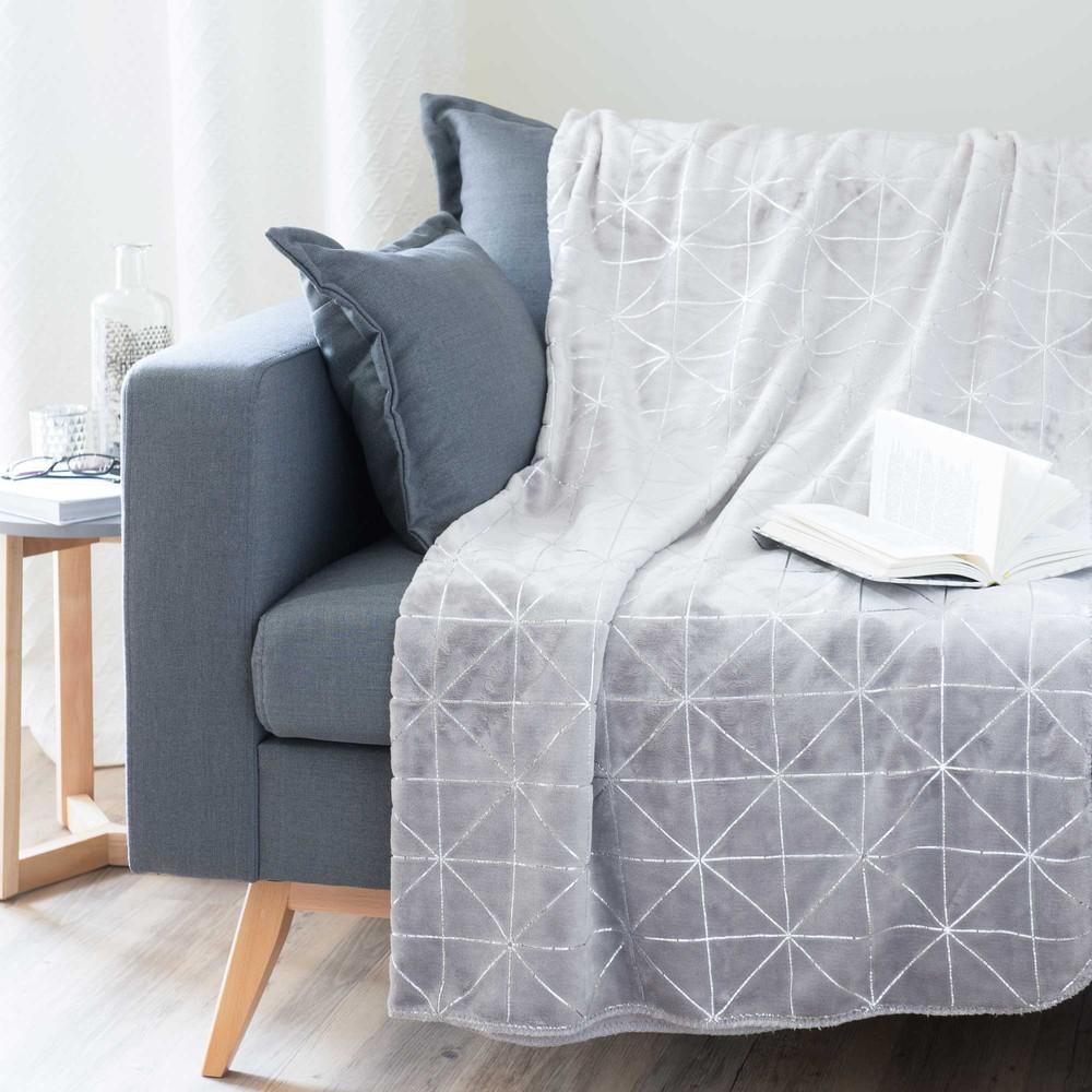 plaid grau 150 x 230 cm dowtown maisons du monde. Black Bedroom Furniture Sets. Home Design Ideas