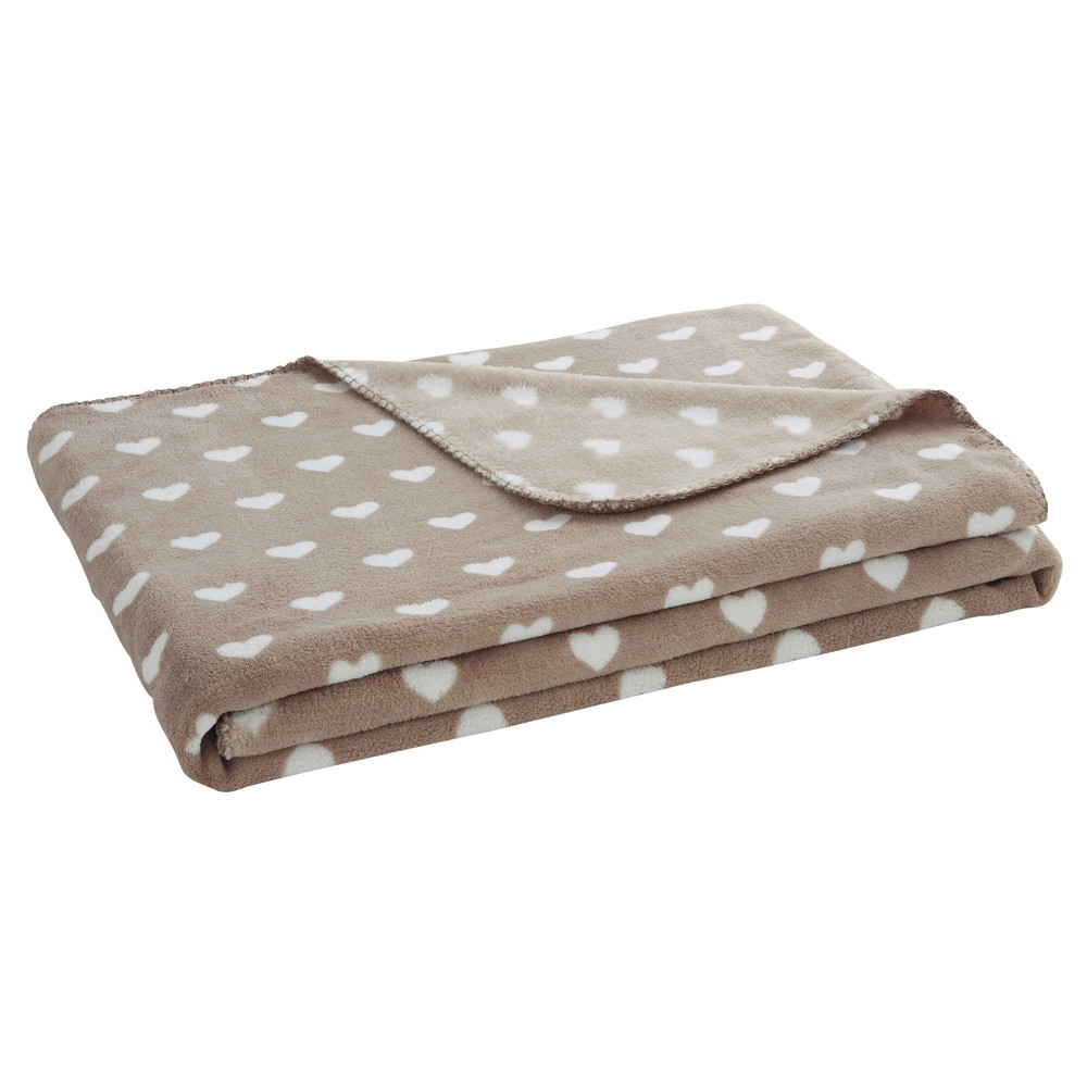 Plaid mit herzmotiven taupe 130 x 170 cm gabrielle for Plaid maison du monde