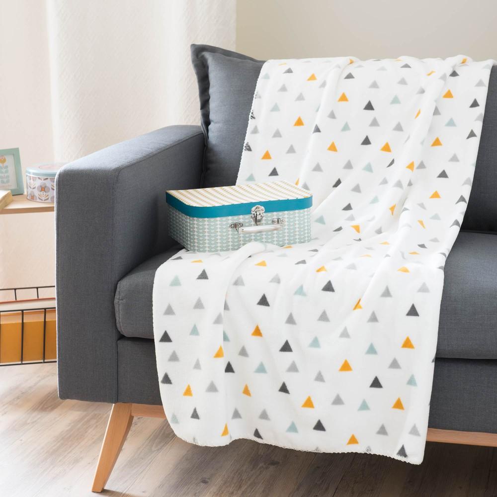 plaid motif triangles en tissu blanc 130 x 170 cm zoe. Black Bedroom Furniture Sets. Home Design Ideas