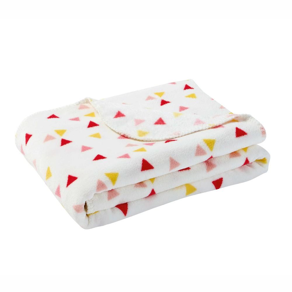 plaid motif triangles rose jaune 130 x 170 cm l a. Black Bedroom Furniture Sets. Home Design Ideas