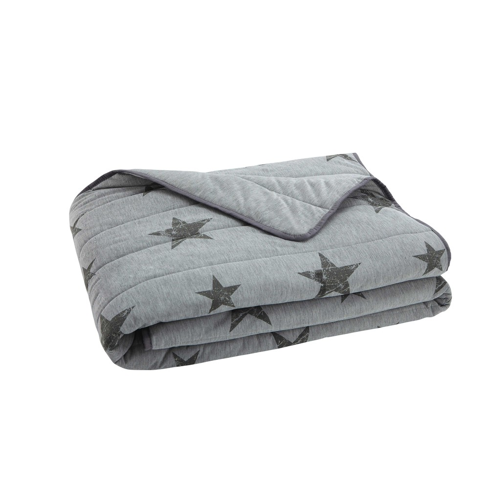 plaid motifs toiles en coton gris 140 x 180 cm stars maisons du monde. Black Bedroom Furniture Sets. Home Design Ideas