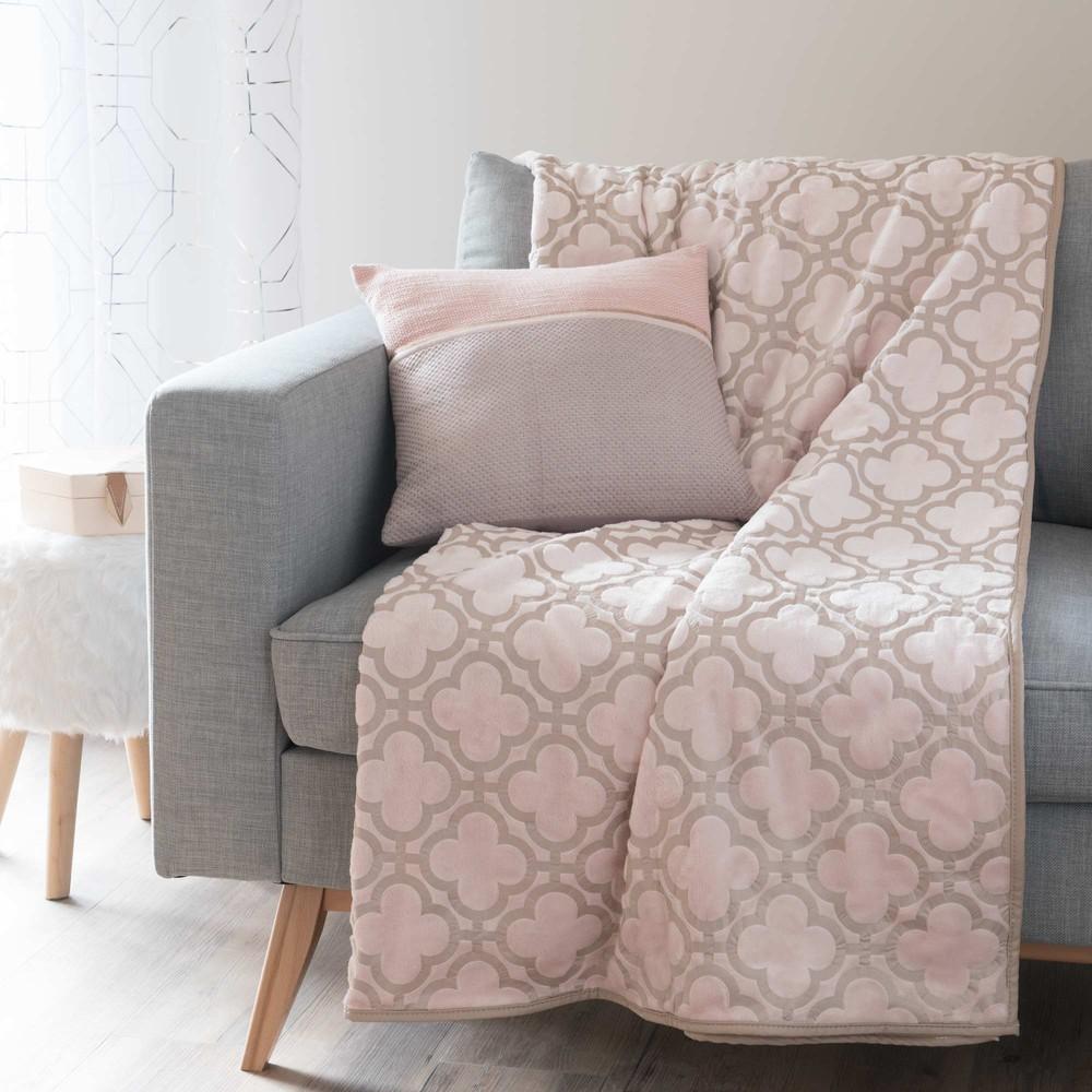 plaid rosa 150 x 200 cm leslie maisons du monde. Black Bedroom Furniture Sets. Home Design Ideas