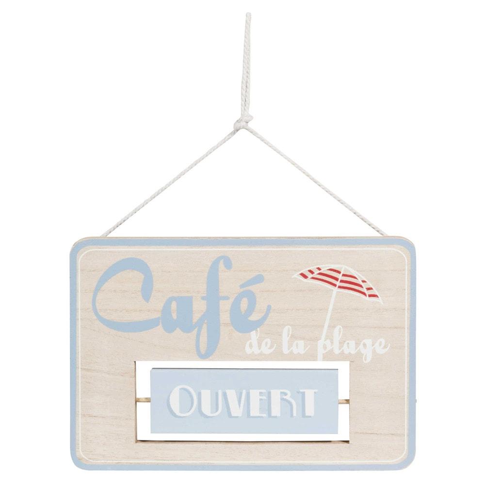 Plaque de porte ouvert ferm en bois caf plage maisons - Maisons du monde ouvert dimanche ...
