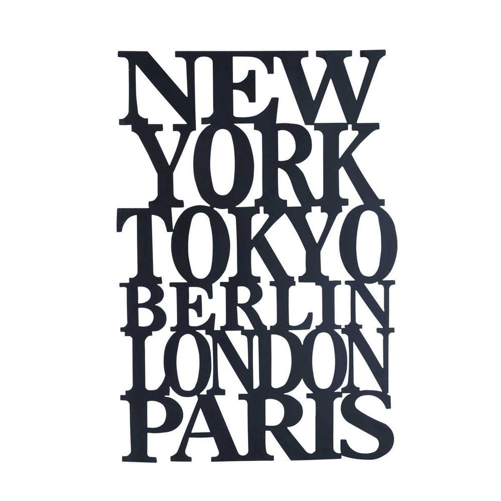 Plaque d co en m tal noire l 61 cm jet lag maisons du monde - Deco new york maison du monde ...