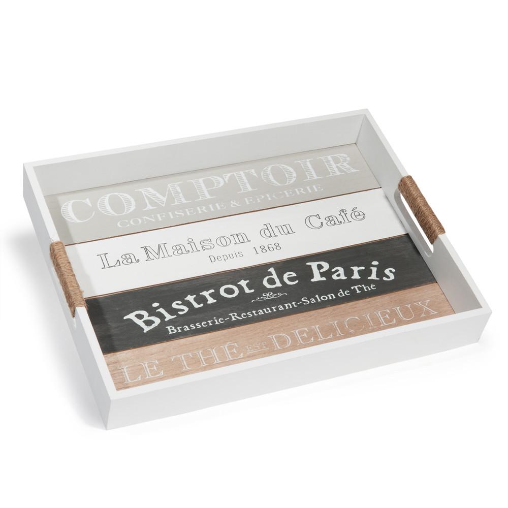 plateau blanc imprim 30 x 40 cm comptoir de paris. Black Bedroom Furniture Sets. Home Design Ideas