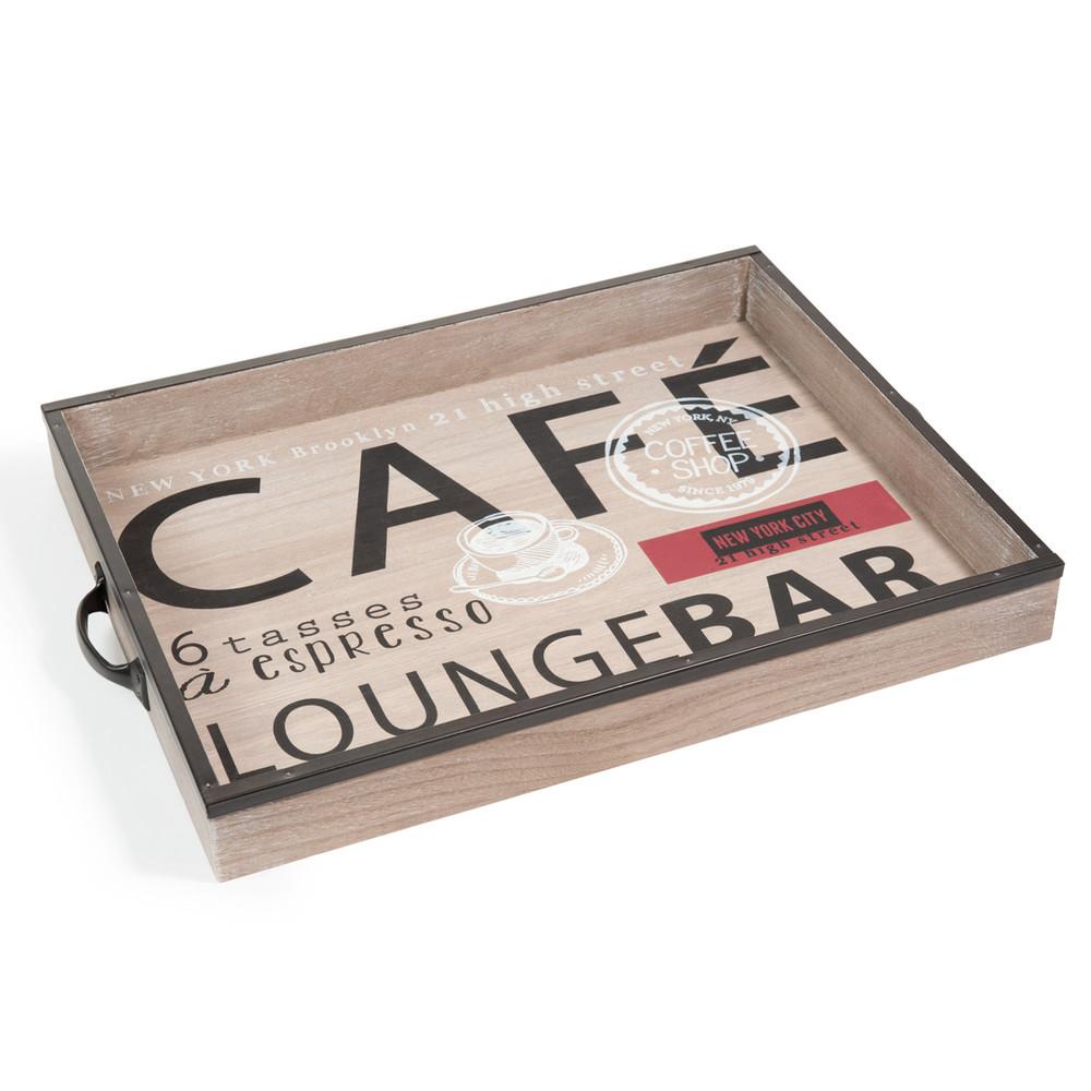 plateau en bois cafe lounge maisons du monde. Black Bedroom Furniture Sets. Home Design Ideas